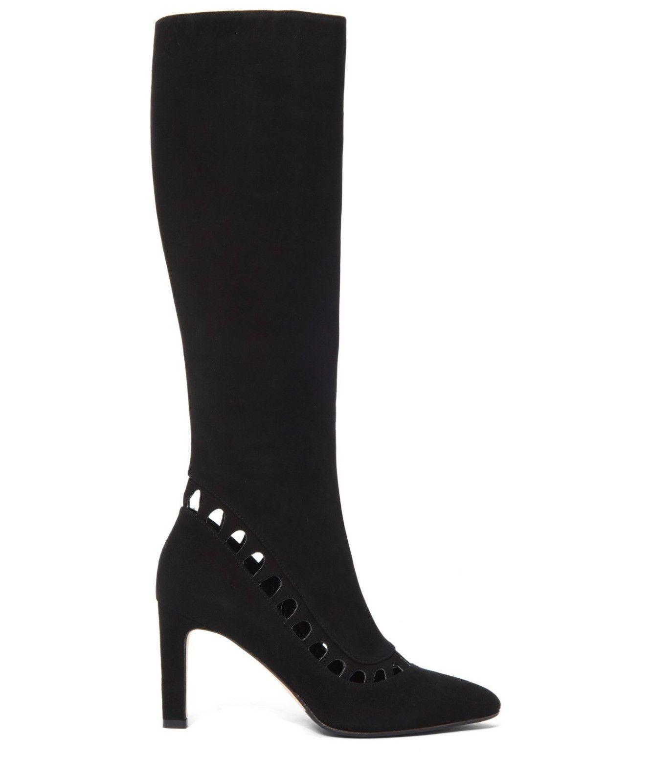 $695 Aquatalia Tall Aliana Knee High Boots Black Suede Cut Out Zipper Booties 10