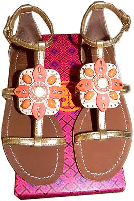 $295 Tory Burch Maura Gold Leather T Strap Gems Sandals Slide Thong Shoe 8