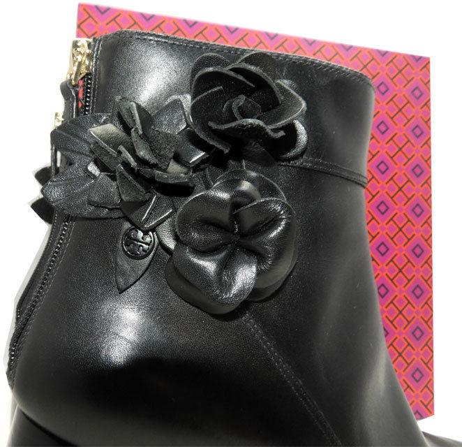$495 Tory Burch Black Leather Blossom Block Heel Boots Ankle Booties 9.5 - Click Image to Close
