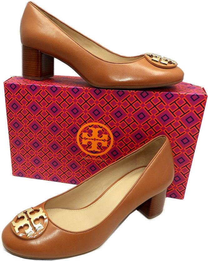 Tory Burch JANEY Royal Tan Leather Pumps Gold Logo ALmond Toe Loafers 9 Shoes