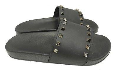 Valentino Garavani NBlack Rockstud Flat Slides Sandals Flip Flop 41 Shoes - Click Image to Close