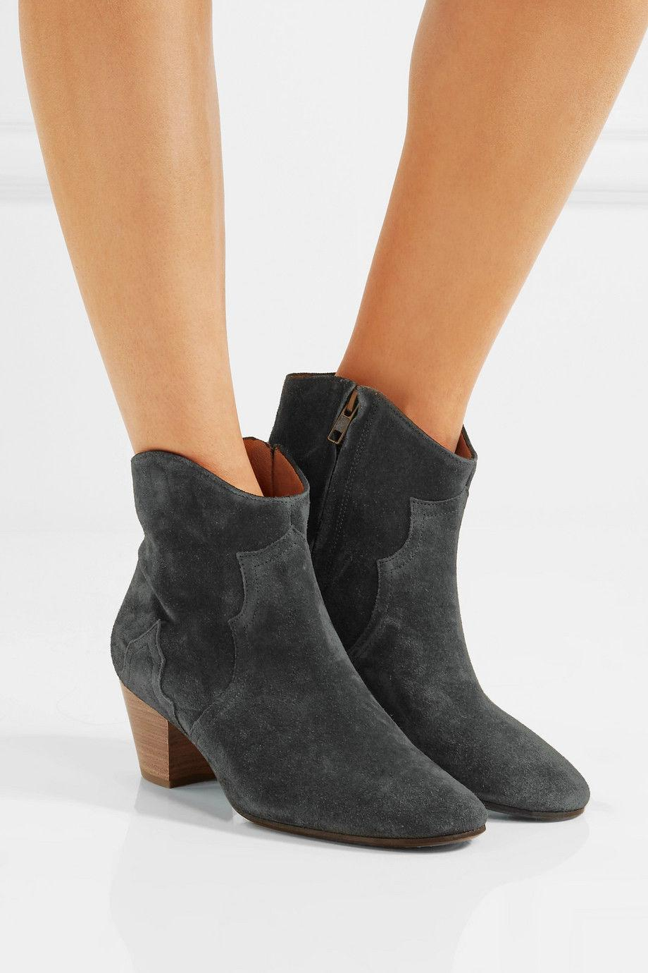 ISABEL MARANT Faded Black Suede Shorty Dicker Ankle Booties 39