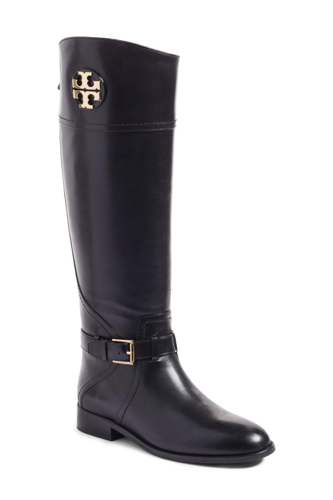 $495 Tory Burch ADELINE Riding Boots Tall Flat Equestrian Booties 9 Gold Logo