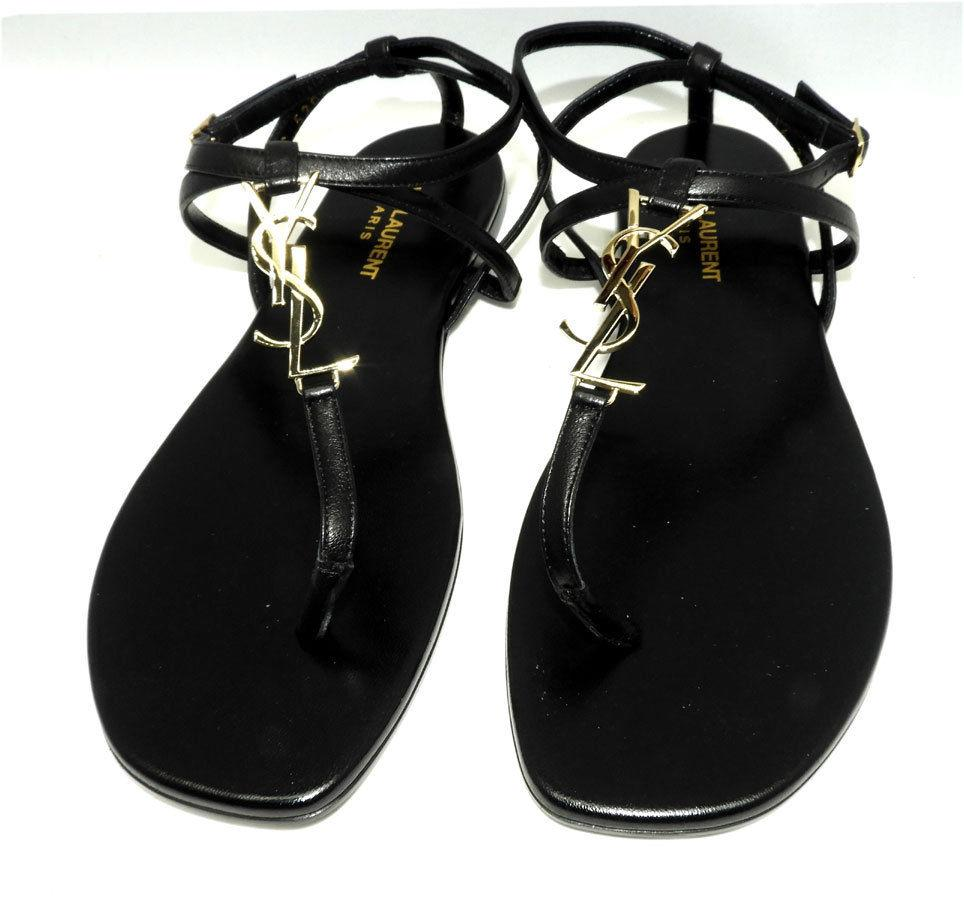 Ysl Saint Laurent Black Leather 38 NU PIED T-Strap Logo Thongs Slides Sandals - Click Image to Close
