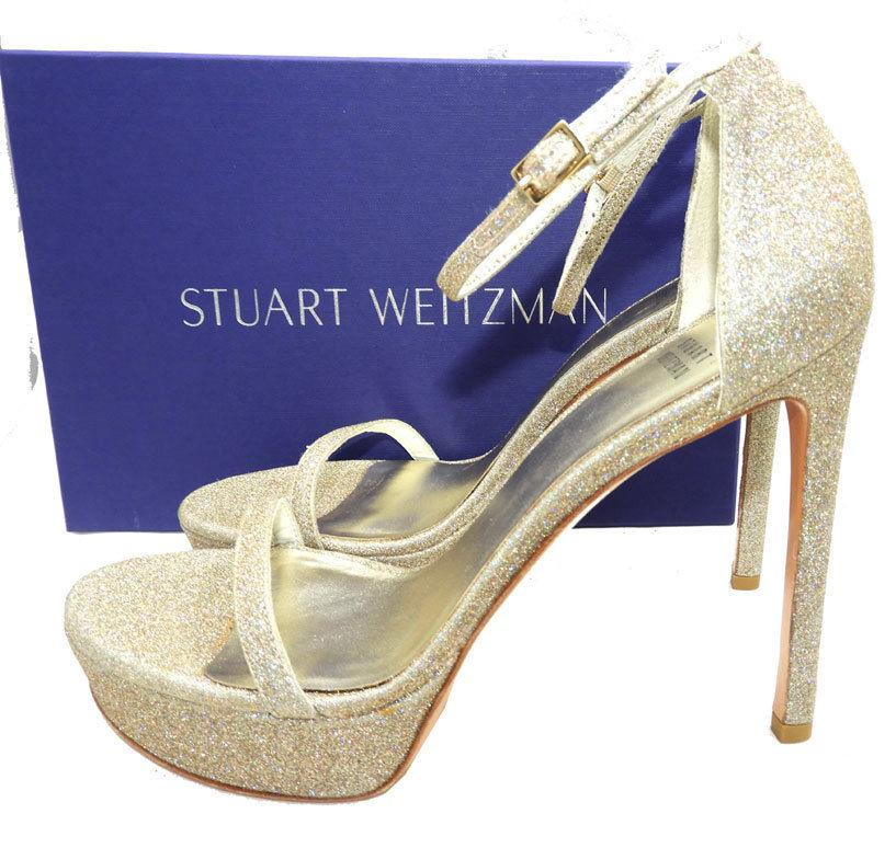 $425 Stuart Weitzman Platform Sandals Platinum Glitter Ankle Nudist Shoes Pump 9