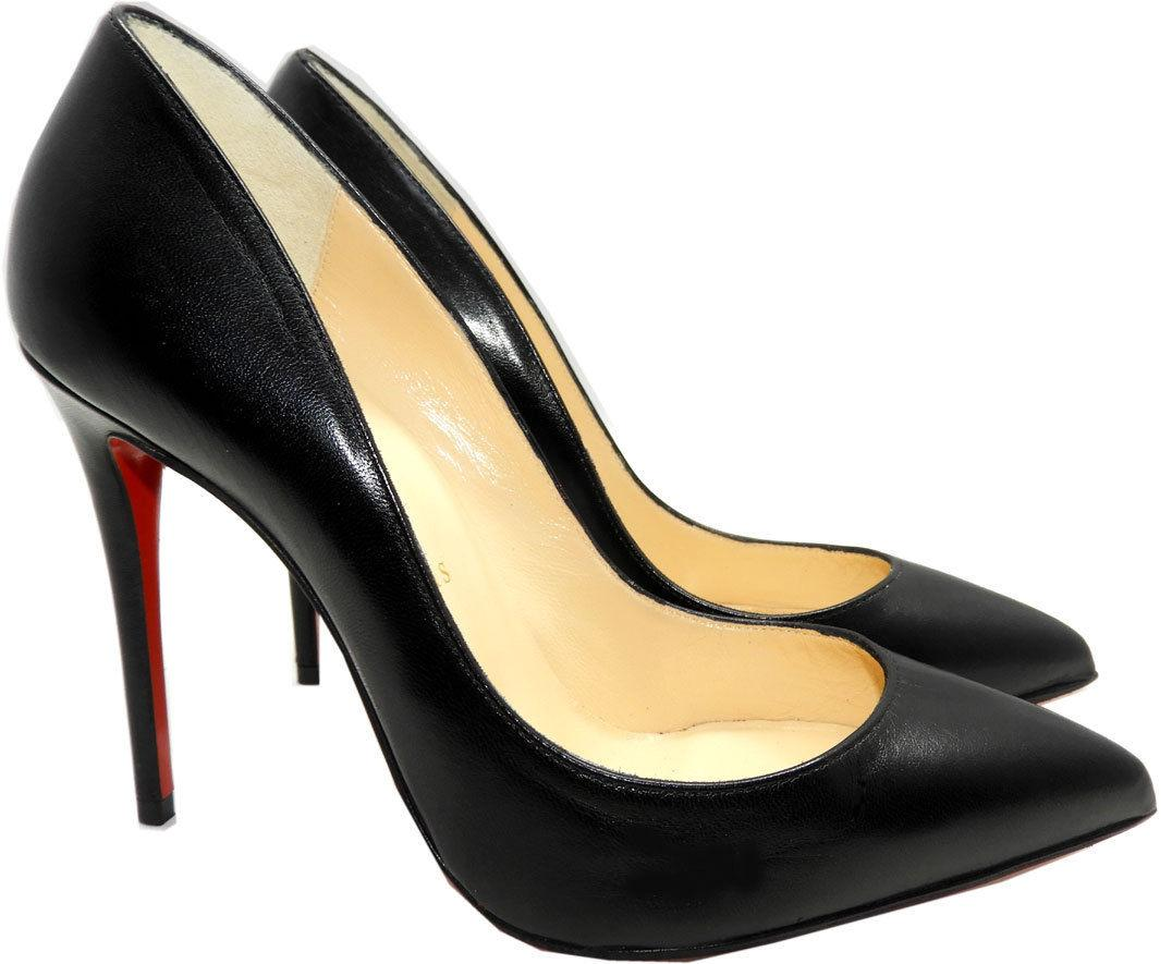 Christian Louboutin PIGALE Follies Pumps Shoes 35.5 Black Leather Pointy Toe