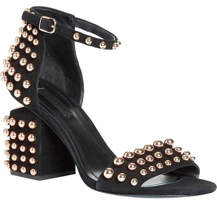 ALEXANDER WANG Abby Black Suede Sandals Rose Gold Studded Heel Pumps 39.5 Shoes