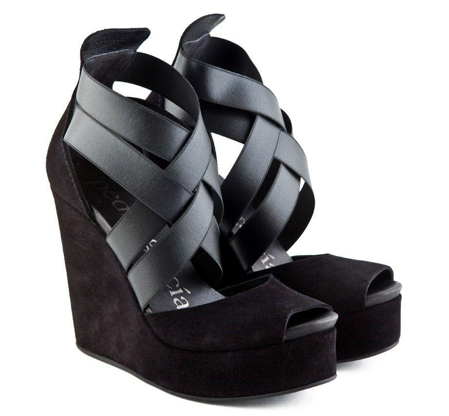 Pedro Garcia Black Suede Stretch Elastic Alba Wedge Sandals Platform Shoes 37.5