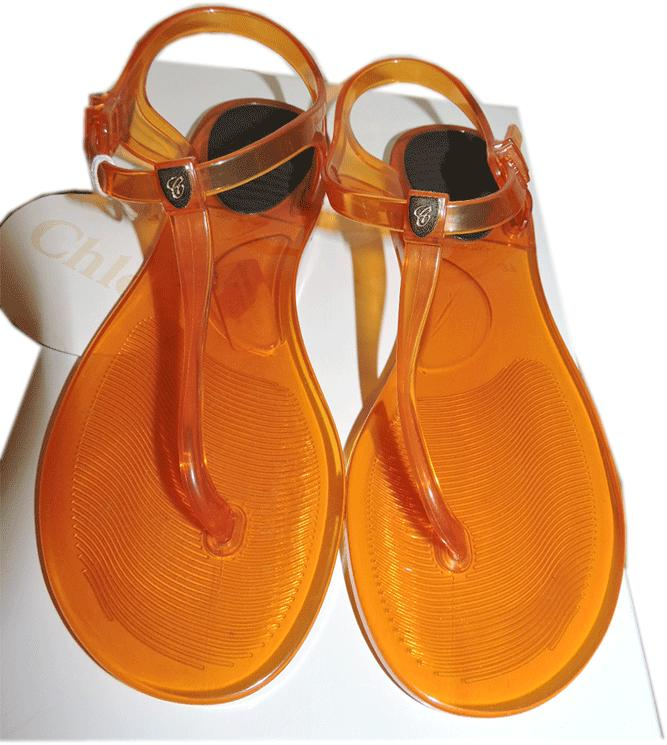 8ea0258b3983 Chloe Logo Jelly Flip Flop Rubber Thong Sandals Flat Orange Jelly 8.5 - 39