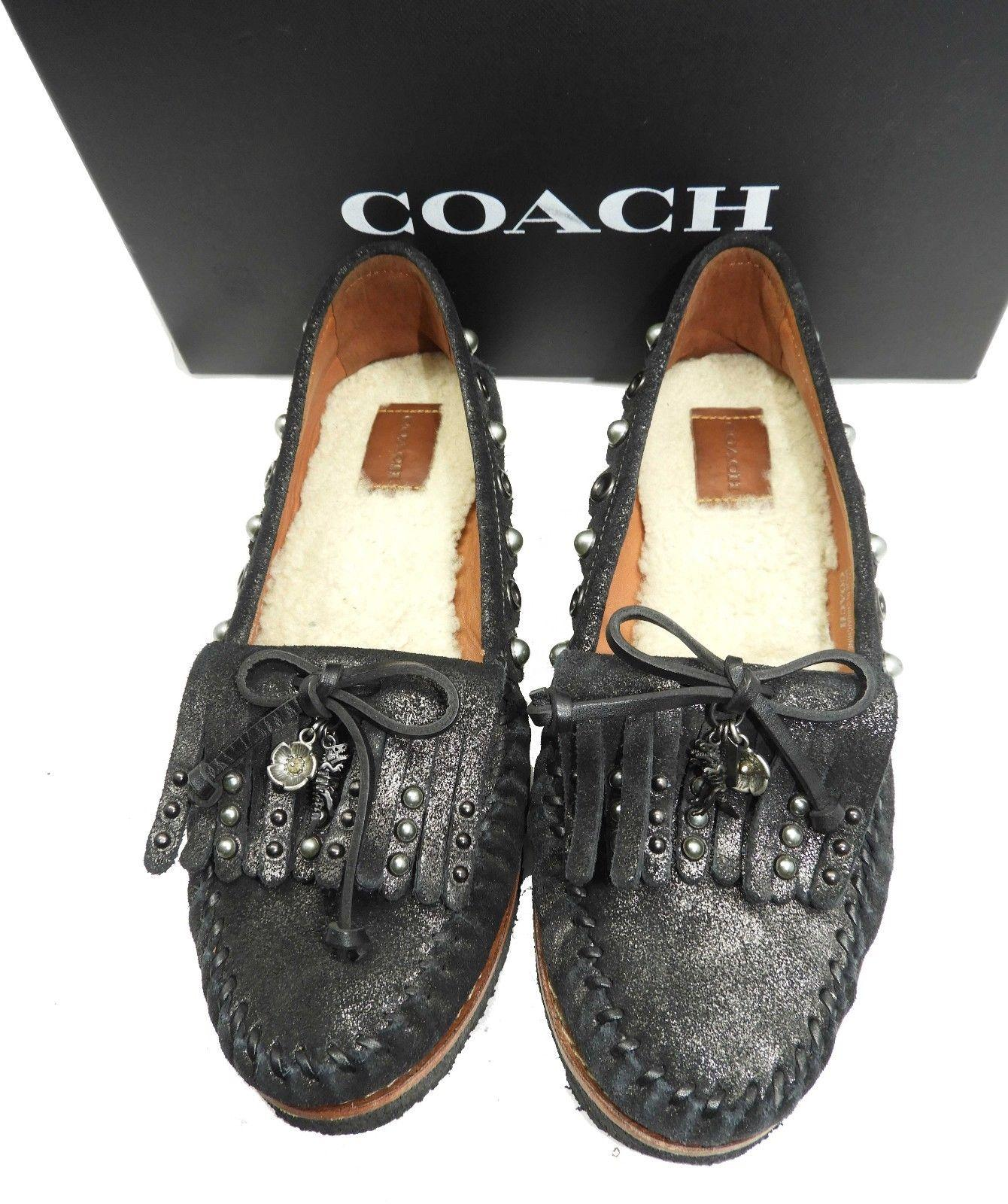 Coach Roccasin Embellished Charms Fringes Suede Moccasin Women Shoes Comfort 8 - Click Image to Close