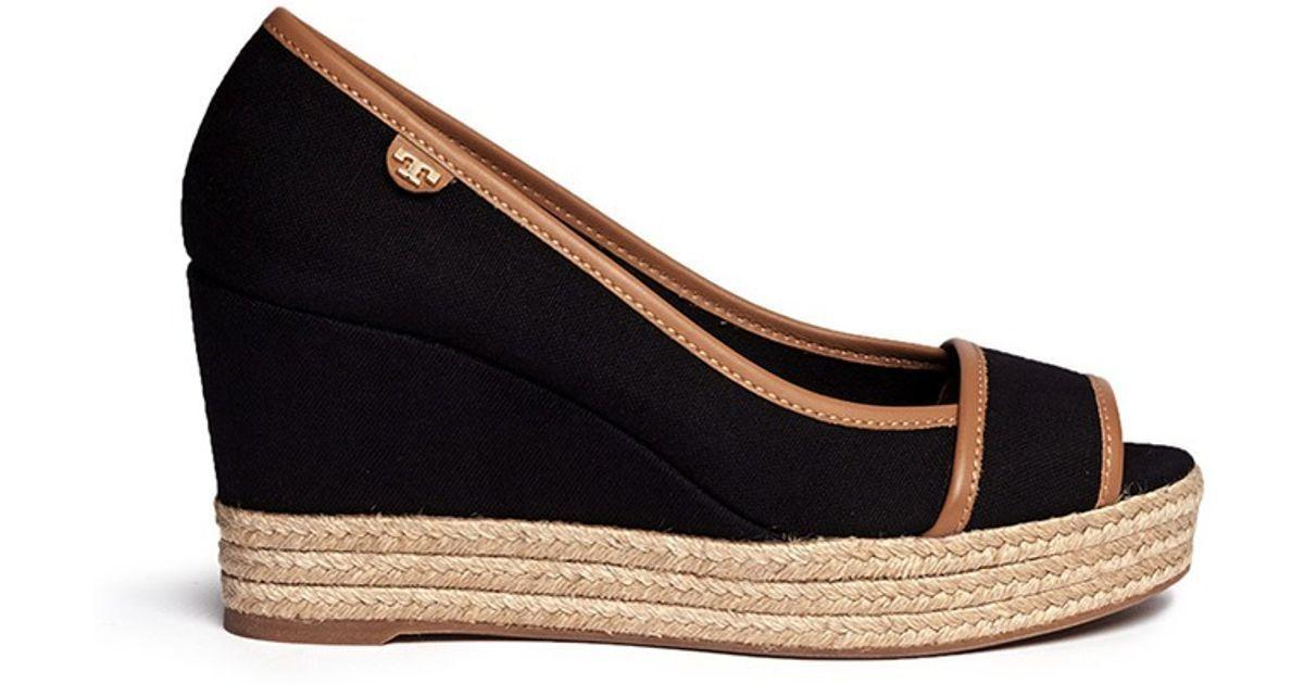Tory Burch 'majorca' Wedge Sandals Peep Toe Espadrille Pumps Shoes Black 10.5