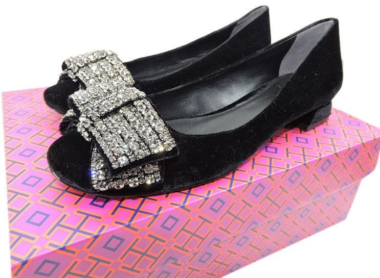 Tory Burch Josephine Embellished Crystal Bow Pumps Black Velvet Shoes 8