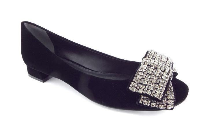 Tory Burch Josephine Embellished Crystal Bow Pumps Black Velvet Shoes 8 - Click Image to Close