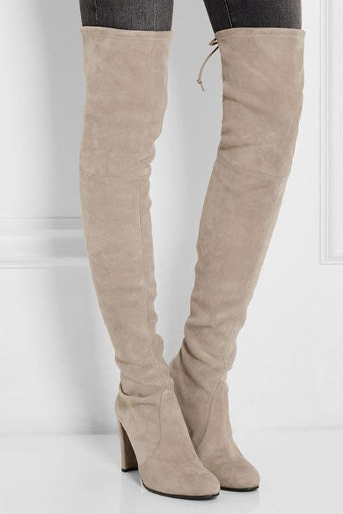 $790 Stuart Weitzman Hiline Over Knee Boot Suede Boots Thigh High Booties 6.5 - Click Image to Close