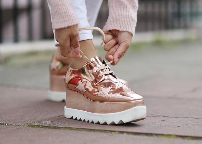 $1345 Stella McCartney ELYSE Platform Sneakers Oxford Shoes Stars Rose Gold 40