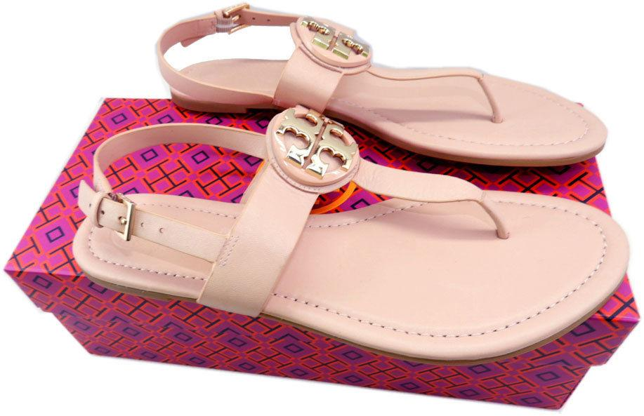 86e850a54f85a Tory Burch BRYCE Thong Sandals Gold Logo Blush Leather Shoes Flip Flops 9-  39