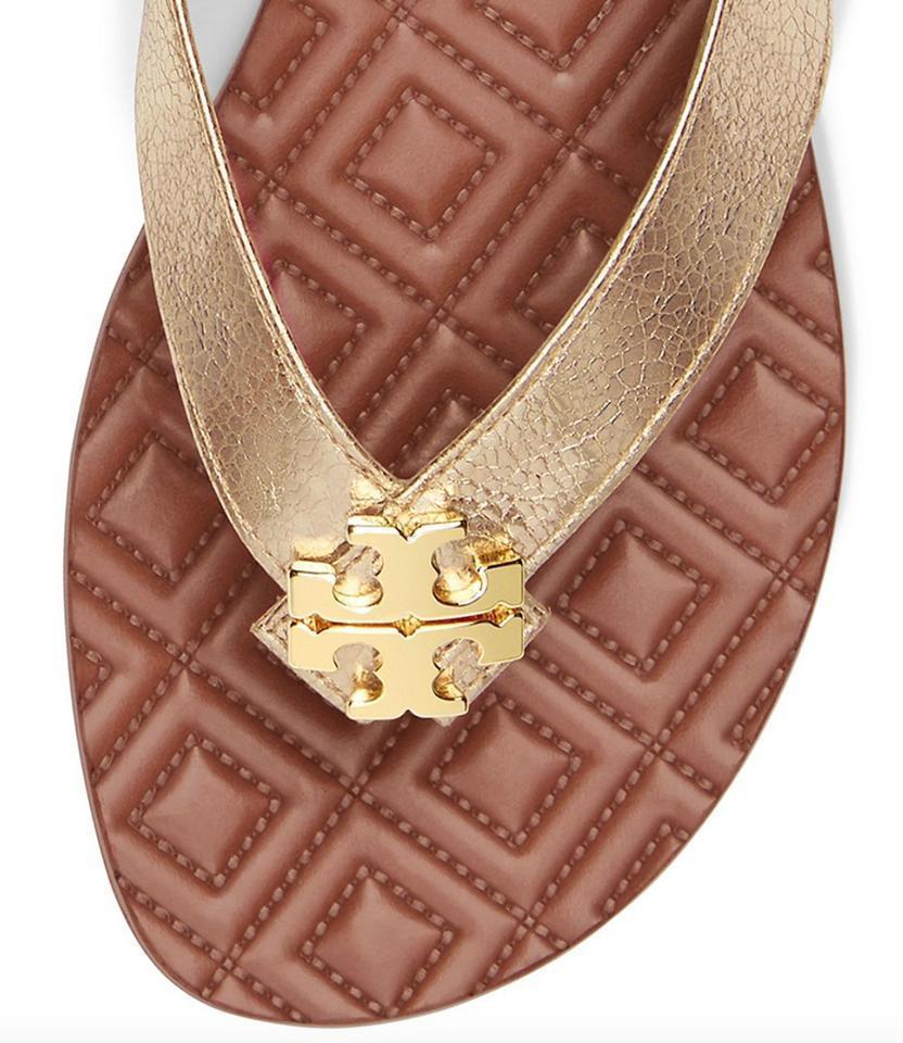 Tory Burch MAYBELL Thongs Sandasl Gold Leather Quilted Shoe Flip Flop 5.5