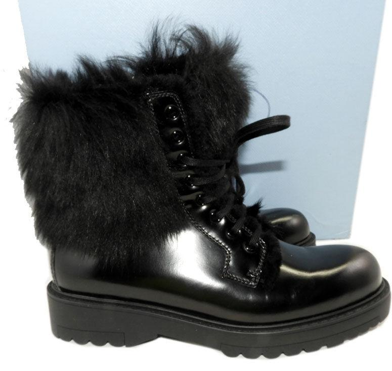 Prada Combat Black Leather Lace Up Motorcycle Boot Biker Fur Lined Booties 38 - Click Image to Close