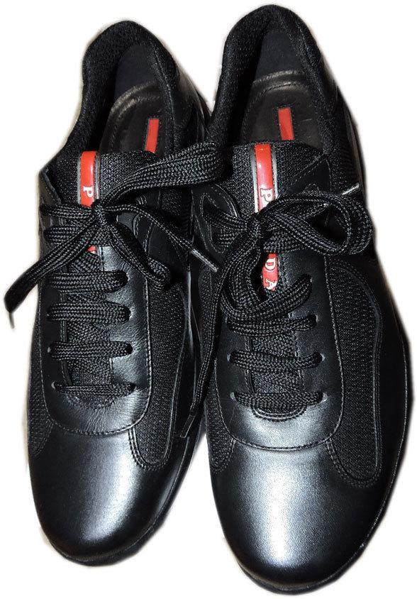 PRADA Men's Low Profile Top Sneakers Lace Up Black Leather Shoe 9.5 Uk- 10.5 Us