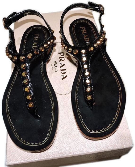 PRADA Black leather Gold Studded T-Strap Flat Shoes Thongs Slides Sandals 37