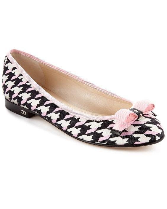 Christian Dior Bow Houndstooth Ballerina Beige Leather Ballet Flats Shoes 39.5