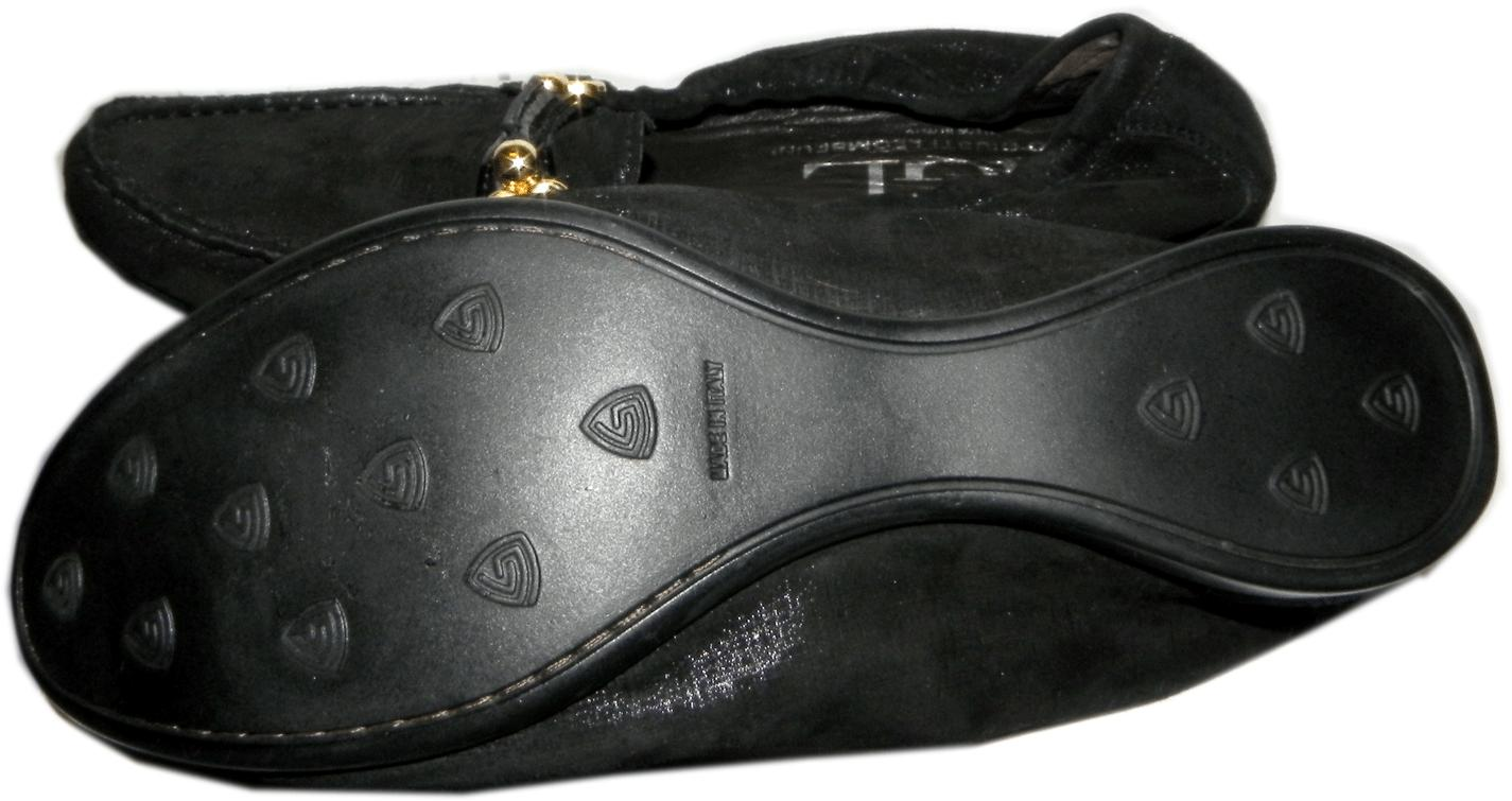 Agl Attilio Giusti Leombruni Ballet Flat Driving Loafer Moccasin Shoe 38.5 Black - Click Image to Close