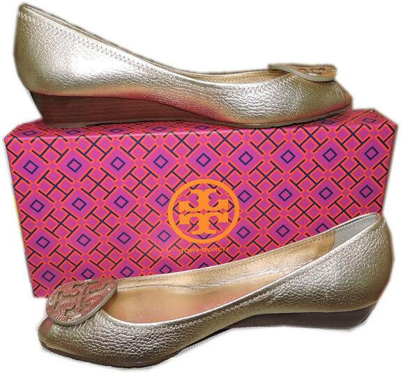 Tory Burch Gold Leather Peep Toe Small Wedge Pumps Shoe Gold Logo 9.5 Peep Toe