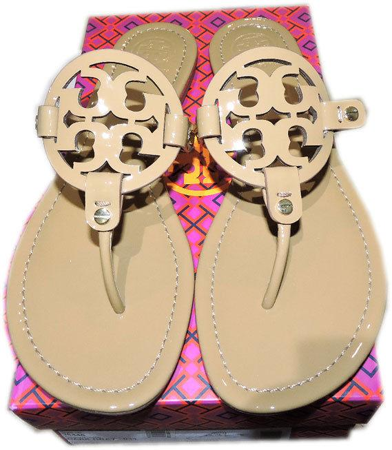 Tory Burch Miller Thong Sandal Tan Patent Leather Flats Flip Flop 11 Slide