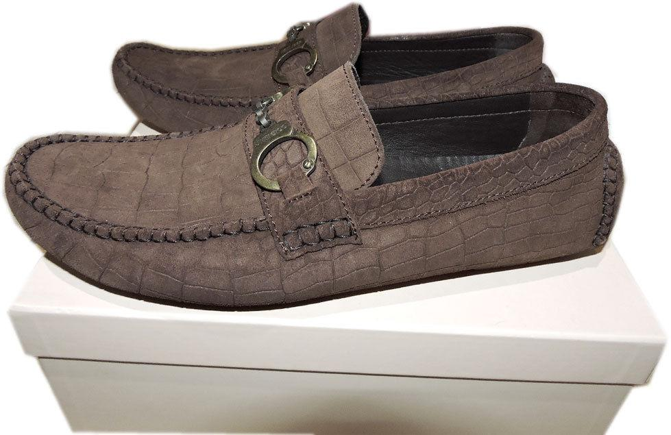 Jimmy Choo Brogan Handcuff Bit Loafer Moccasins 41 Brown Suede Driving Shoe - Click Image to Close