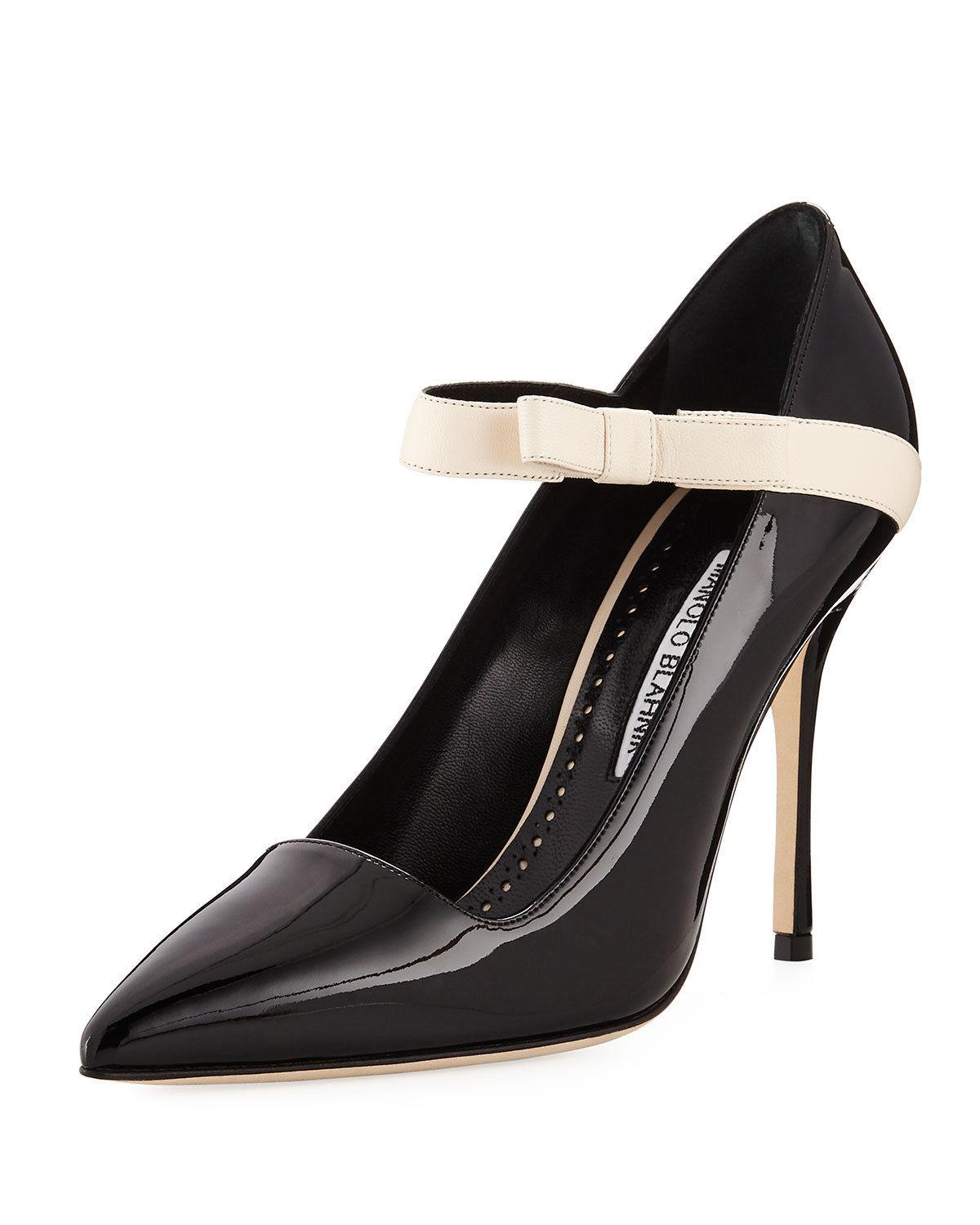 Manolo Blahnik Immaculada Black Patent Mary Jane Pumps Pointy Toe Shoe 40 - Click Image to Close