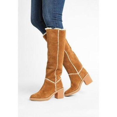 $275 UGG Australia Kasen Tall Chestnut Suede Knee Boots Fur Lined Booties 6.5