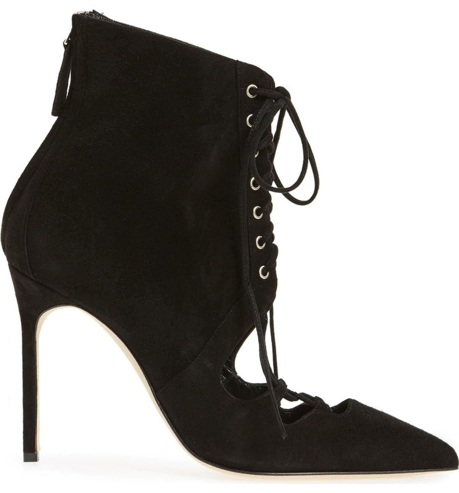 $1245 MANOLO BLAHNIK Lace Up Boots GRACO Cut Out Black Suede Ankle Booties 38 - Click Image to Close