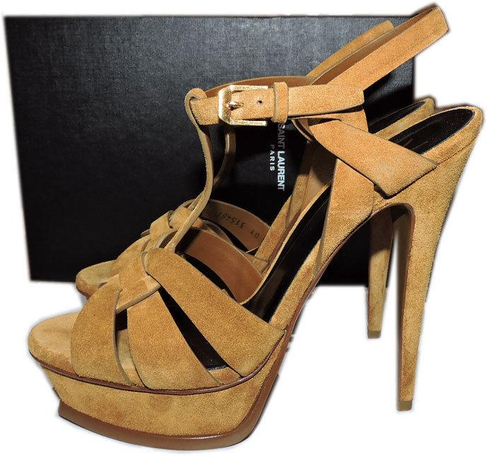 Ysl Yves Saint Laurent Suede Leather Tribute T-Strap Sandals Pumps Shoe 40.5