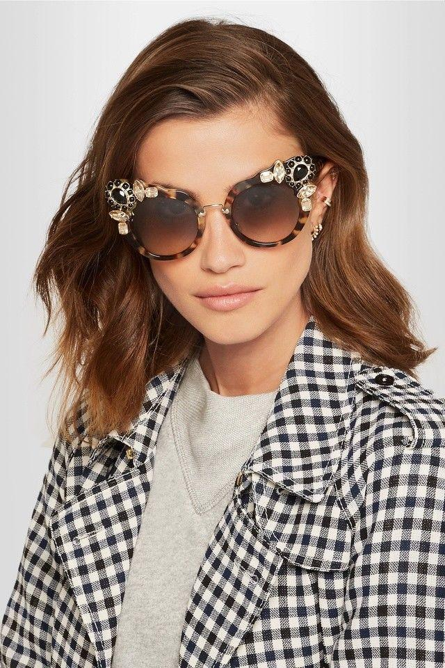 $540 MIU MIU by Prada Tortoise Frame Crystal-Embellished Cat-Eye Sunglasses