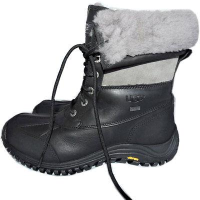 $229 UGG Australia Adirondack Gray Ankle Boots Fur Lined Wedge Booties 8.5