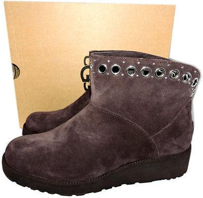 $179 UGG Australia RILEY Suede Ankle Boots Grommets Fur Lined Wedge Booties 9