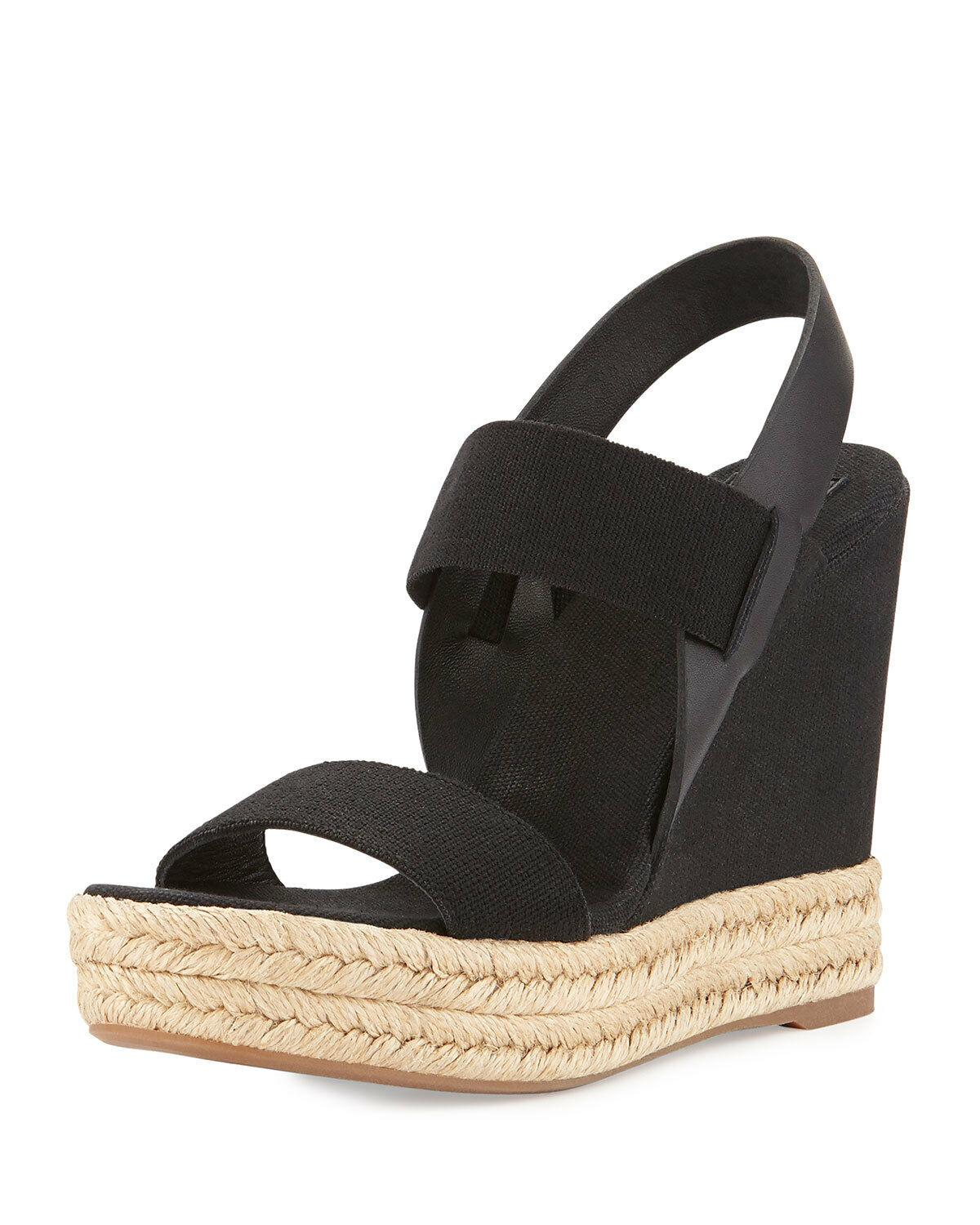 Sz 9 Tory Burch Black Two Bands Canvas Leather Wedge Espadrille Sandal Shoe