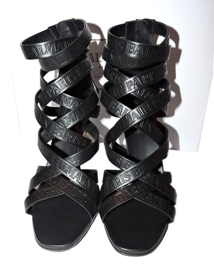 182d0eedd60f  1190 BALMAIN Charlotte Strappy Gladiator Leather Sandals Pumps Shoe 40  Booties