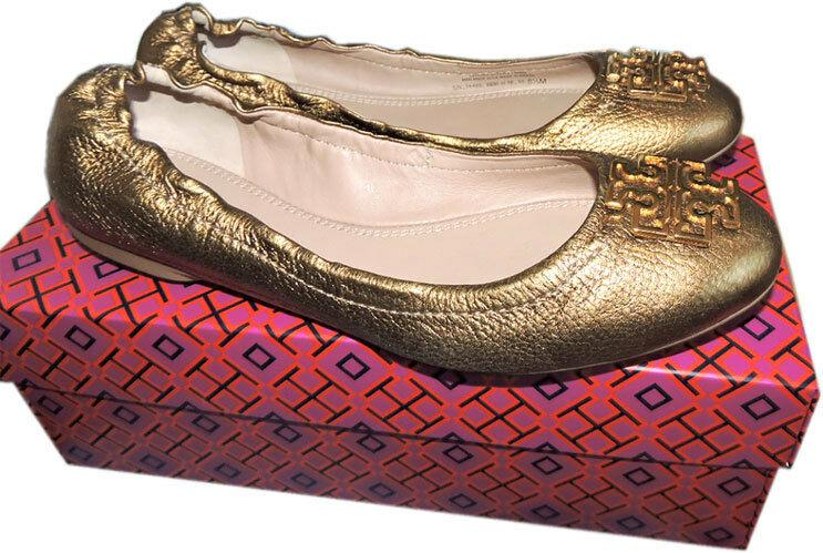 Tory Burch Melinda Ballerina Flats Bronze Leather Gold Logo Ballet Shoe 8.5
