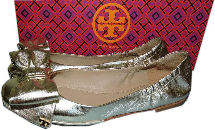 Tory Burch Gold Leather Divine Bow Driver Ballet Spark Flats Ballerina 7