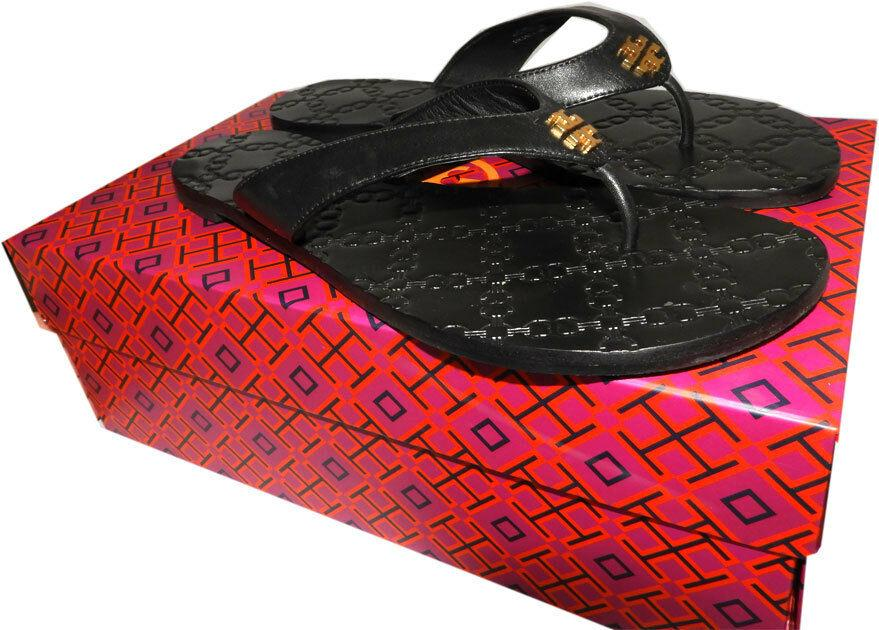 Tory Burch MONROE Thongs Sandals Black Leather Flats Quilted Shoe Flip Flop 8