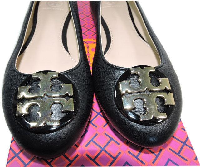 Tory Burch Claire Reva Ballerina Flats Gold Logo Ballet Shoe 13 Black Leather