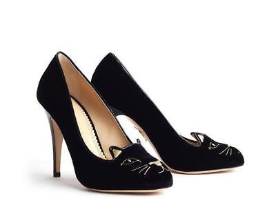 Charlotte Olympia KITTY Black Velvet Pumps Gold Embroidery Face Heels Shoe 38.5