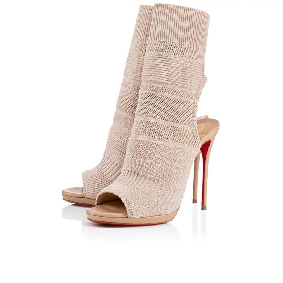 Christian Louboutin Nude Cheminene Sock Stretch Ankle Sandal Heel Boot Pump 39