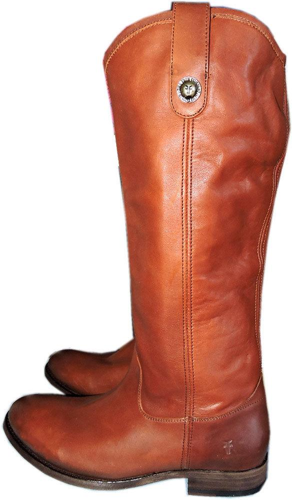 56a9ef9c096 Frye Melissa Button Boot Riding Equestrian Cognac Leather Brown Pull Bootie  7.5
