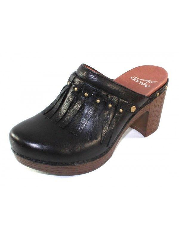 Dansko Professional Clogs Fringed Mules Black Shoe Small Wedge Studded Pumps 38