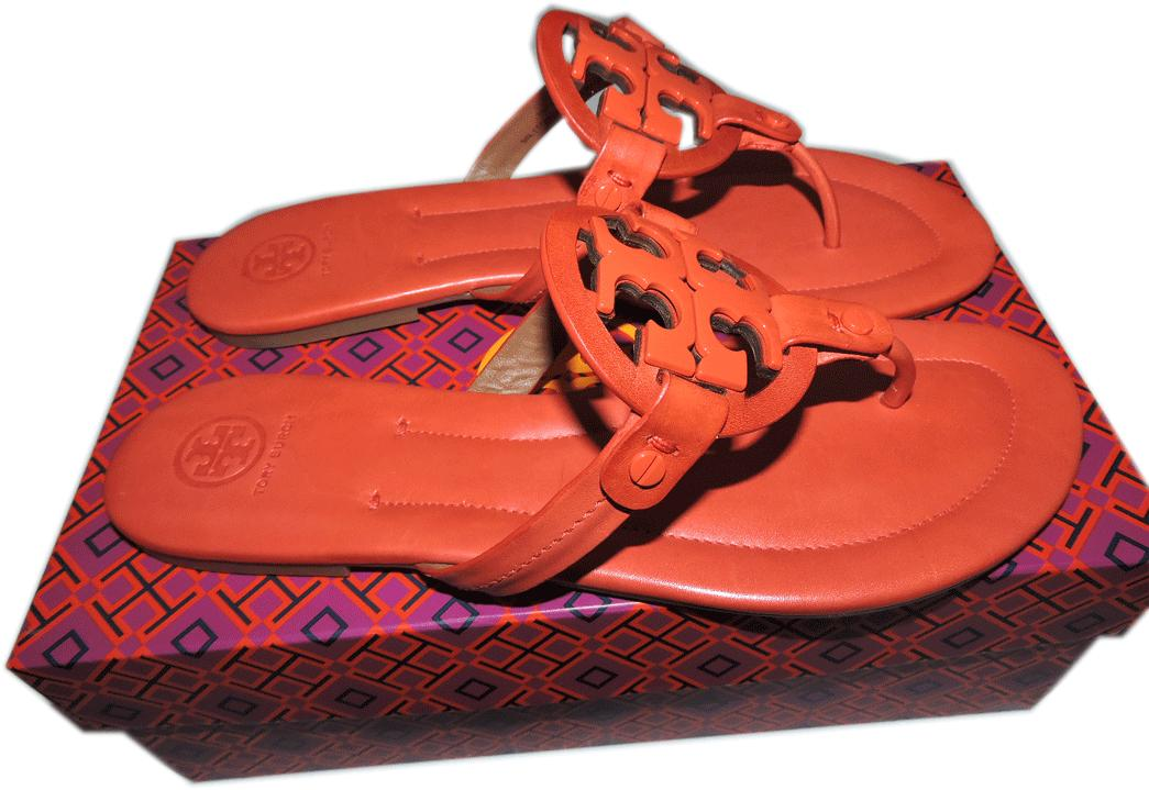 $225 Tory Burch Miller Thong Sandal Fire Red Metal Logo Shoe Flip Flop 10 - Click Image to Close