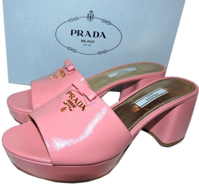 f21f9e07881 PRADA Pink Patent Leather Slides Mules Platform Shoe Sandals Bow ...