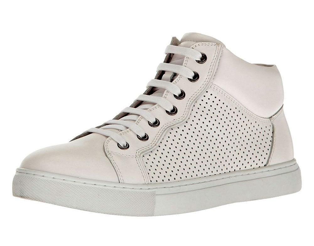 Zanzara Encore High-Top Sneakers Men's White Perforated Leather Shoes 12 DANLEA