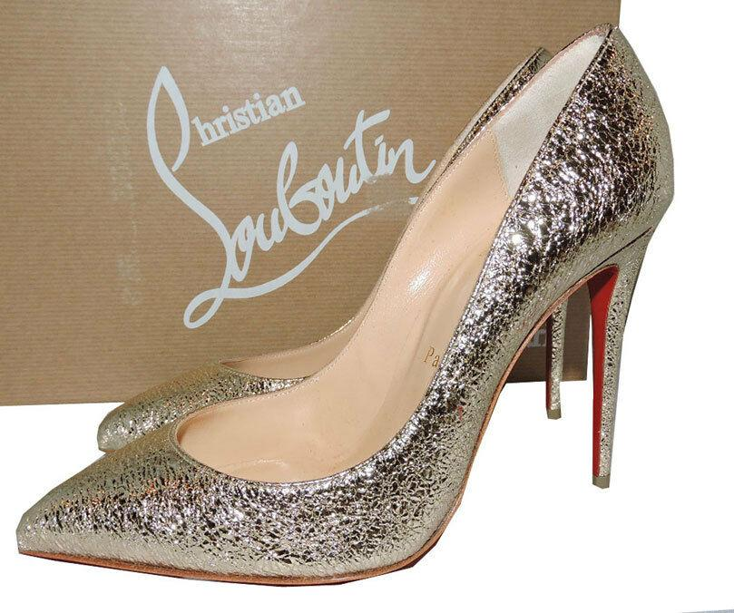 Christian Louboutin PIGALLE Follies Pumps 38 Platinum Leather Pointy Toe Shoes